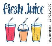 fresh juice line art icons... | Shutterstock .eps vector #1140314270