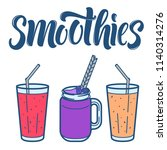 smoothie line art icons... | Shutterstock .eps vector #1140314276
