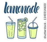 lemonade line art icons... | Shutterstock .eps vector #1140314603