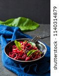 beetroot spaghetti with... | Shutterstock . vector #1140314879