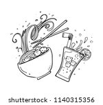 noodle hand drawn | Shutterstock .eps vector #1140315356