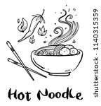 noodle hand drawn   Shutterstock .eps vector #1140315359