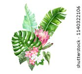 group of watercolor tropical... | Shutterstock . vector #1140322106