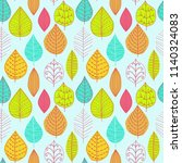 seamless pattern with leaf.... | Shutterstock .eps vector #1140324083