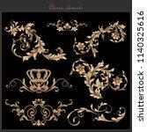 beautiful gold baroque vintage... | Shutterstock .eps vector #1140325616