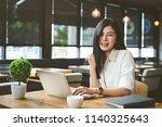 freelancer beautiful asian... | Shutterstock . vector #1140325643