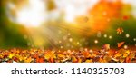 leaf fall in idyllic landscape | Shutterstock . vector #1140325703
