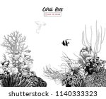 hand drawn coral reef with... | Shutterstock .eps vector #1140333323