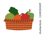 vegetables and fruits in basket | Shutterstock .eps vector #1140334349