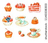 set of watercolor hand painted... | Shutterstock . vector #1140338303