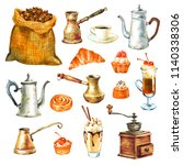 coffee and cake elements  set... | Shutterstock . vector #1140338306