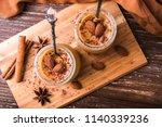 toffee caramel dessert in jar ... | Shutterstock . vector #1140339236