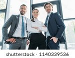 bottom view of group of smiling ... | Shutterstock . vector #1140339536