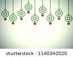 christmas background. hanging... | Shutterstock . vector #1140342020