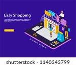 easy shopping isometric vector... | Shutterstock .eps vector #1140343799