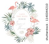 wedding invitation design... | Shutterstock .eps vector #1140344210