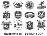 set of mountain expedition... | Shutterstock . vector #1140345209