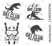 set of ski club retro badges.... | Shutterstock . vector #1140345296