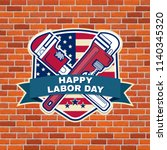 labor day badge emblem with... | Shutterstock . vector #1140345320