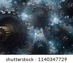 gears  smoke and light  3d... | Shutterstock . vector #1140347729