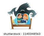 pair of scared children sitting ... | Shutterstock .eps vector #1140348563