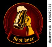 beer label with hand raised up... | Shutterstock .eps vector #1140352736