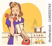retro housewife in old... | Shutterstock .eps vector #1140352763