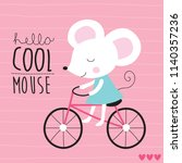 cute mouse on bicycle vector... | Shutterstock .eps vector #1140357236