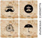 set of four vintage postcard.... | Shutterstock .eps vector #1140360776