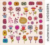 hand drawn floral elements. set ... | Shutterstock .eps vector #1140360896