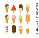 colorful different ice cream... | Shutterstock .eps vector #1140361973