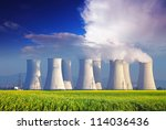 nuclear power plant with yellow ...
