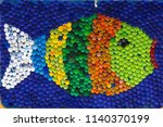 fish mosaic deocoration made of ... | Shutterstock . vector #1140370199