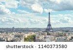 view on eiffel tower  paris ... | Shutterstock . vector #1140373580