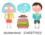 cute kids boy and girl reading... | Shutterstock .eps vector #1140377423