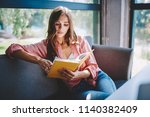 pensive young woman reading... | Shutterstock . vector #1140382409
