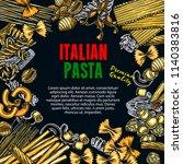 italian pasta sketch poster for ...   Shutterstock .eps vector #1140383816