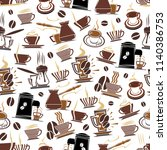 coffee seamless pattern of... | Shutterstock .eps vector #1140386753