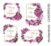 wedding greeting cards of lilac ... | Shutterstock .eps vector #1140390140