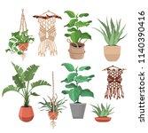 macrame plant hangers in...   Shutterstock .eps vector #1140390416