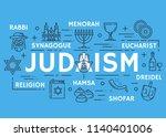 judaism poster of jewish... | Shutterstock .eps vector #1140401006