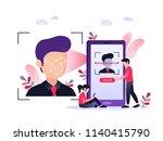 smartphone scans a man face.... | Shutterstock .eps vector #1140415790