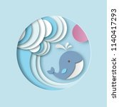 little whale with stylized... | Shutterstock .eps vector #1140417293