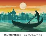 man row boat in venice  famous...   Shutterstock .eps vector #1140417443