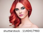 beauty fashion model girl with... | Shutterstock . vector #1140417983