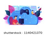 two gamers playing computer... | Shutterstock .eps vector #1140421370