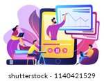 students watching recorded... | Shutterstock .eps vector #1140421529