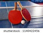 ping pong ball and racket next...   Shutterstock . vector #1140422456