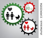 family symbol with pram and... | Shutterstock .eps vector #1140423356