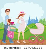 beautiful pregnant woman and... | Shutterstock .eps vector #1140431336